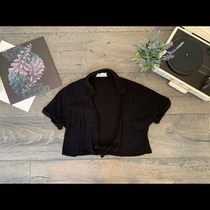Black Front-Tie Crop Top (Urban Outfitters)